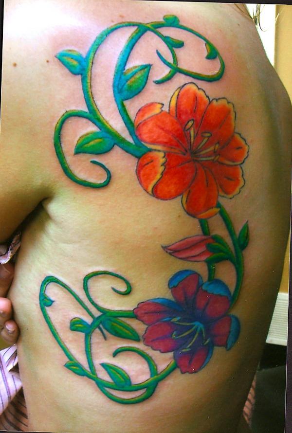 Art Nouveau Flower Tattoos Art Deco Flower Tattoo