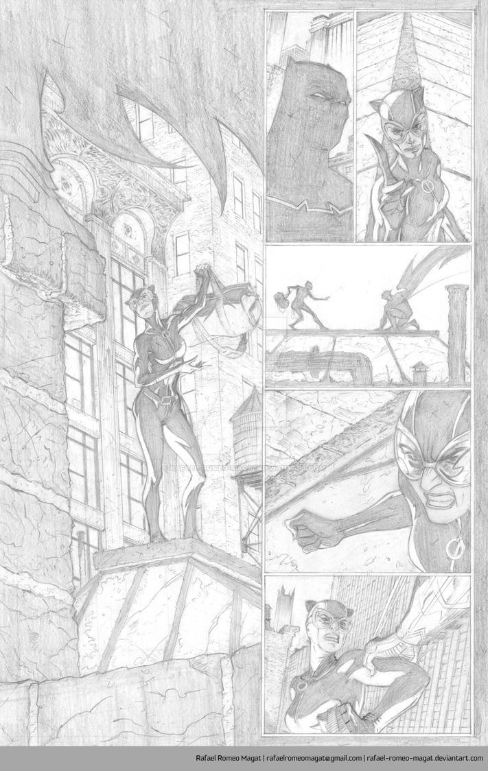 Batman/Catwoman Comic Sample Page 1-Pencil by Rafael-Romeo-Magat