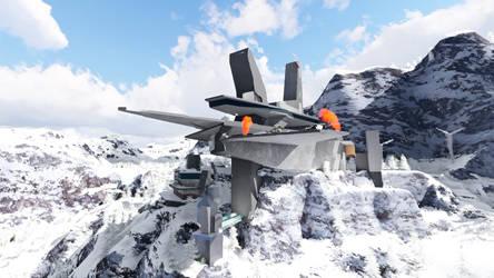 winter mountain sci-fi base 2 by gofik