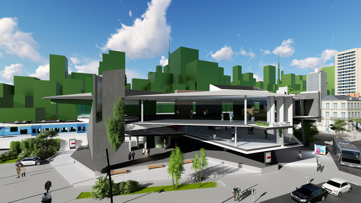 futuristic train station by gofik