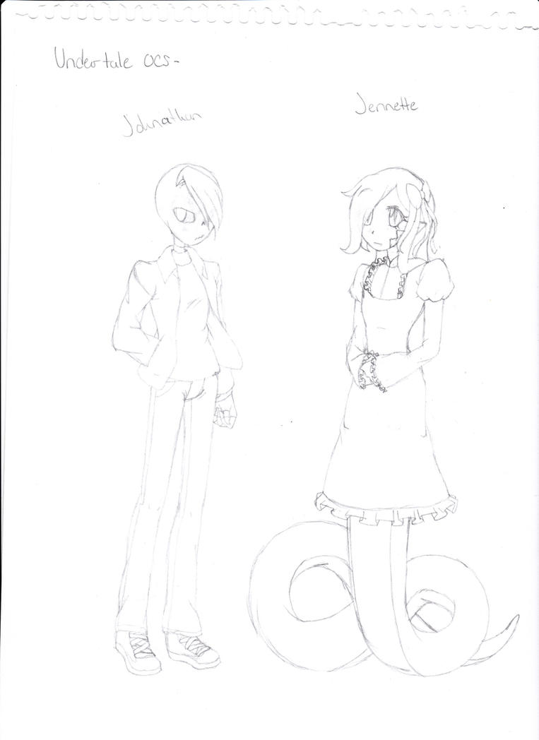 Undertale Ocs- Johnathan and Jennette by Darkemerald4578
