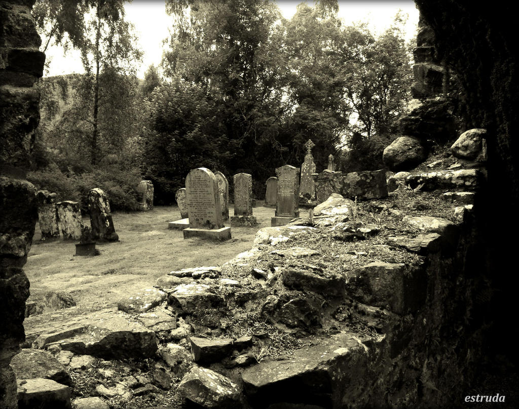 Cemetery through the ruins of an old church by Estruda