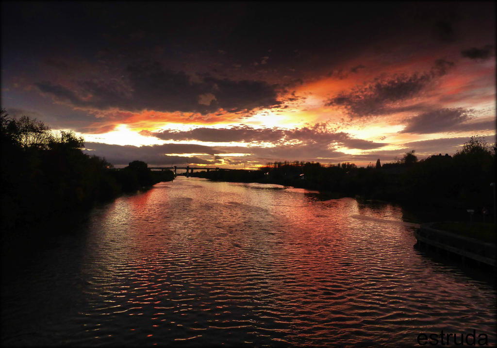 Sunset Over The Canal by Estruda