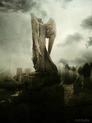 The angel looks over the lost souls