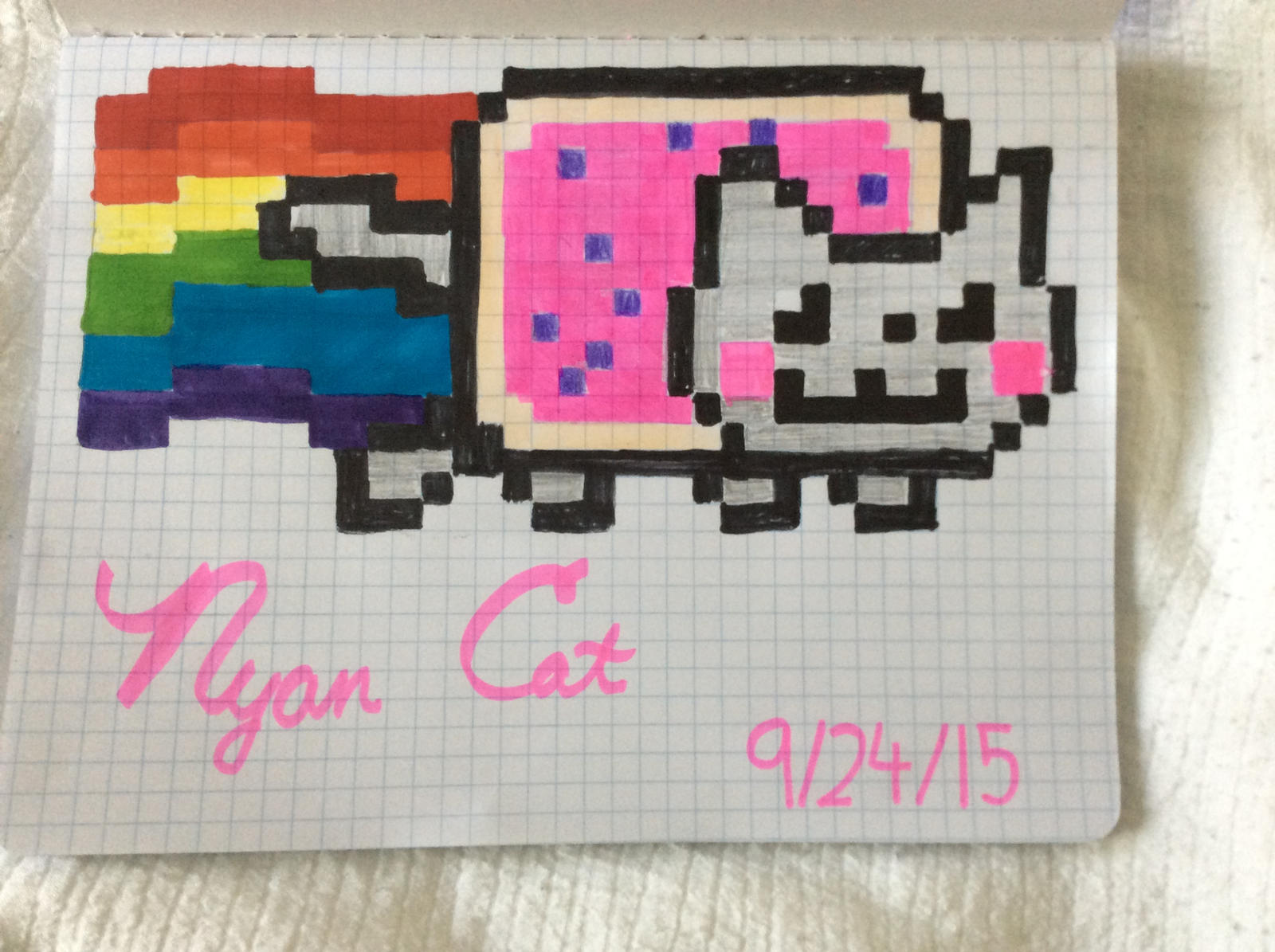 Nyan Cat drawing on graph paper by Bonniethesniperman on DeviantArt