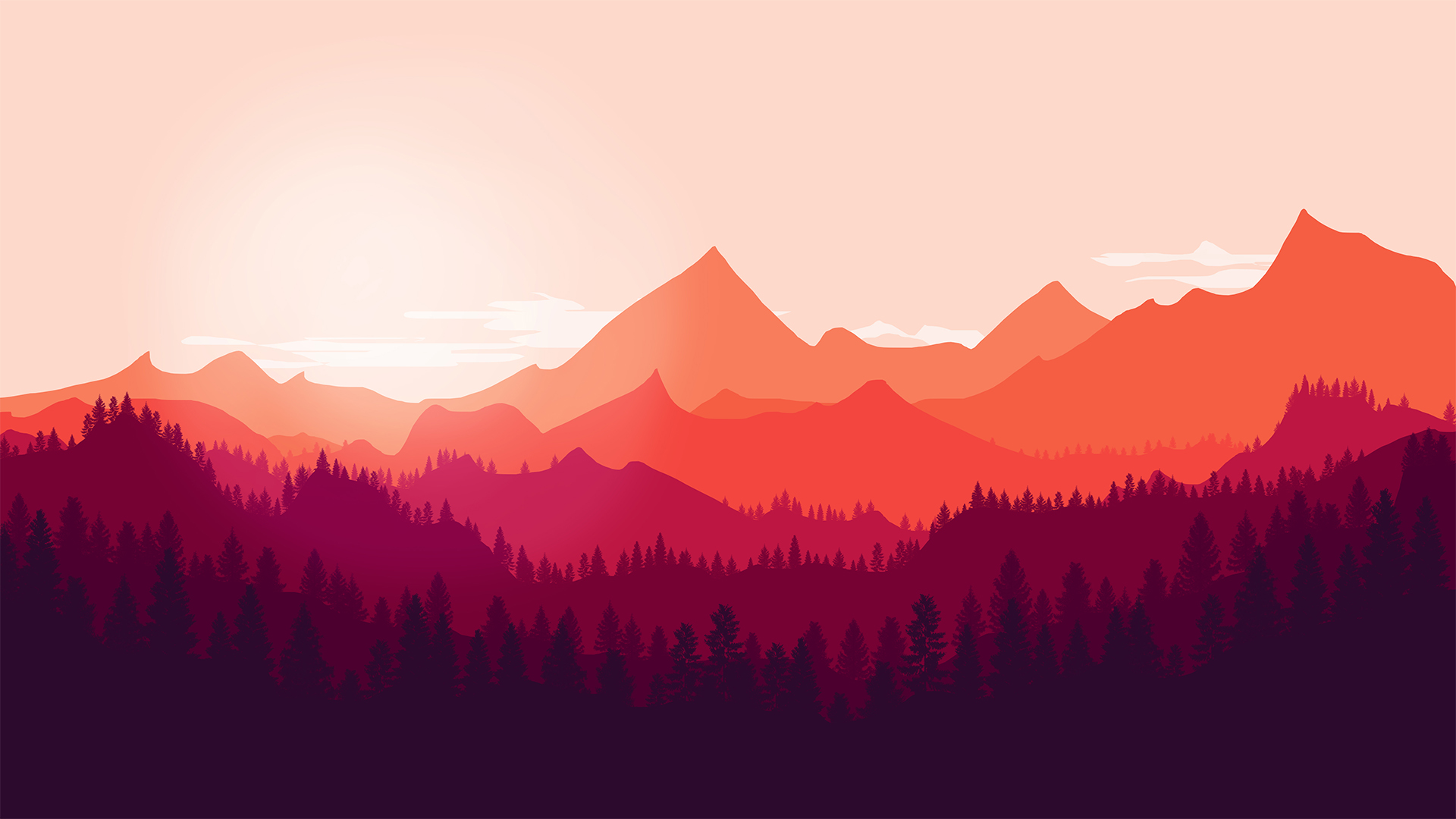 Flat mountains landscape by ggiuliafilippini on deviantart for Minimal art landscape