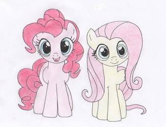 Pinkie and Fluttershy by HairyGirl