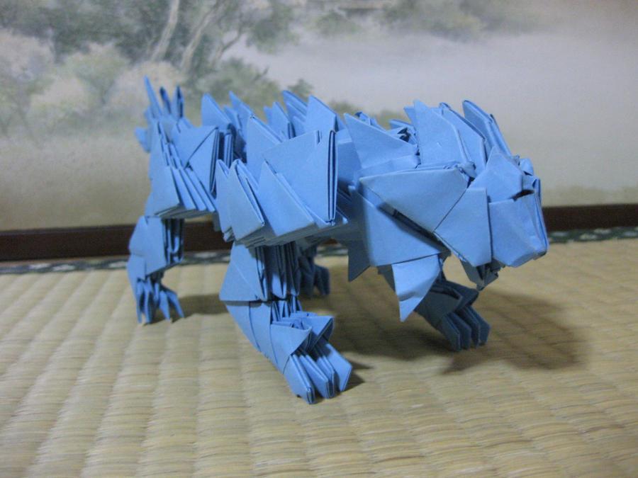 3d origami lion by kumazaza