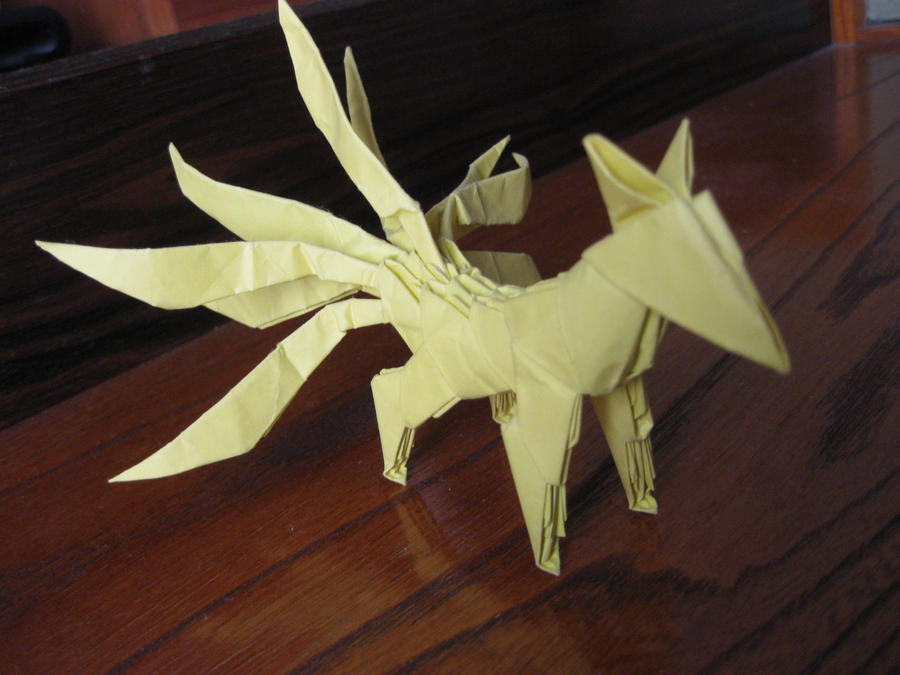 3d origami Nine-tailed fox by kumazaza