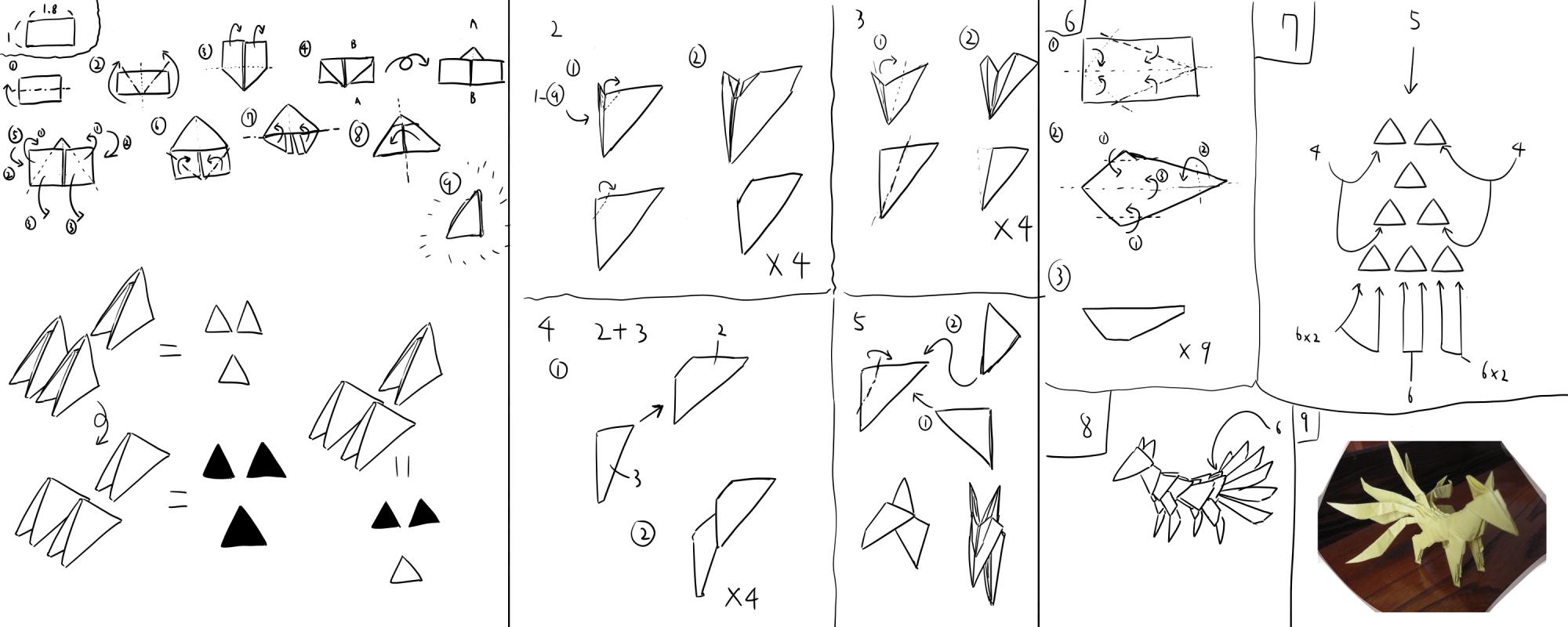 3d origami Nine-tailed fox how to build. by kumazaza