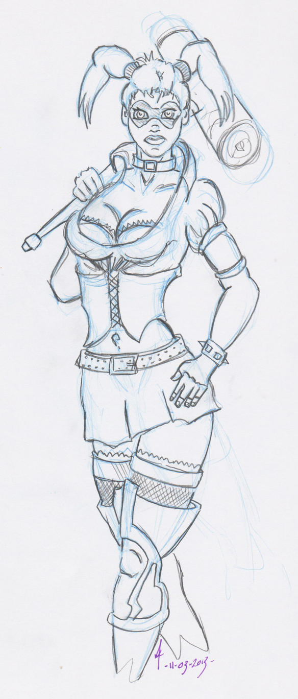 Line Art Harley Quinn : Arkham asylum harley quinn lineart by wedgedoc on deviantart