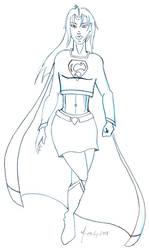 Supergirl Hovering Sketch