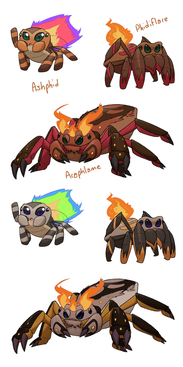 Fakemon Collab: Fire Starters by xIce-Wolf