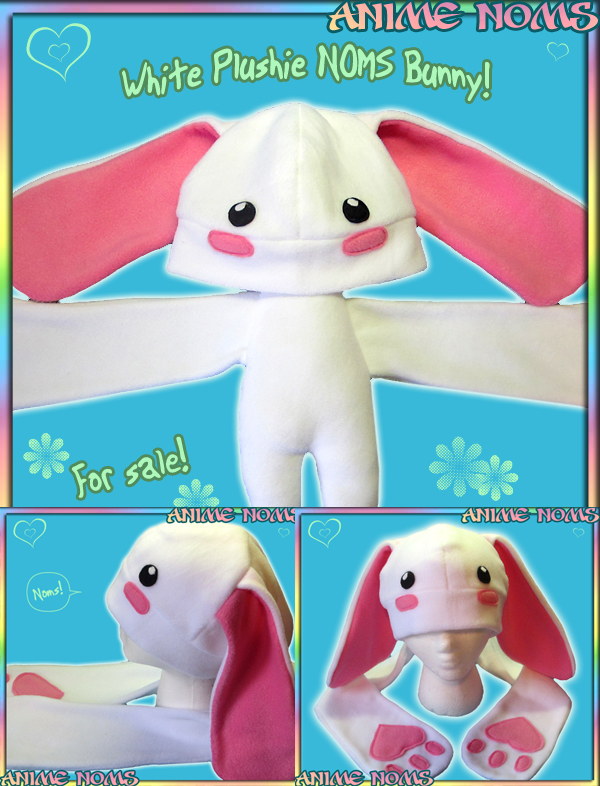 White Bunny Plushie NOMS Hat by AnimeNomNoms