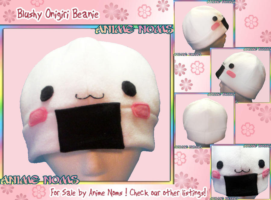 Blushy Onigiri Fleece Beanie Hat by AnimeNomNoms