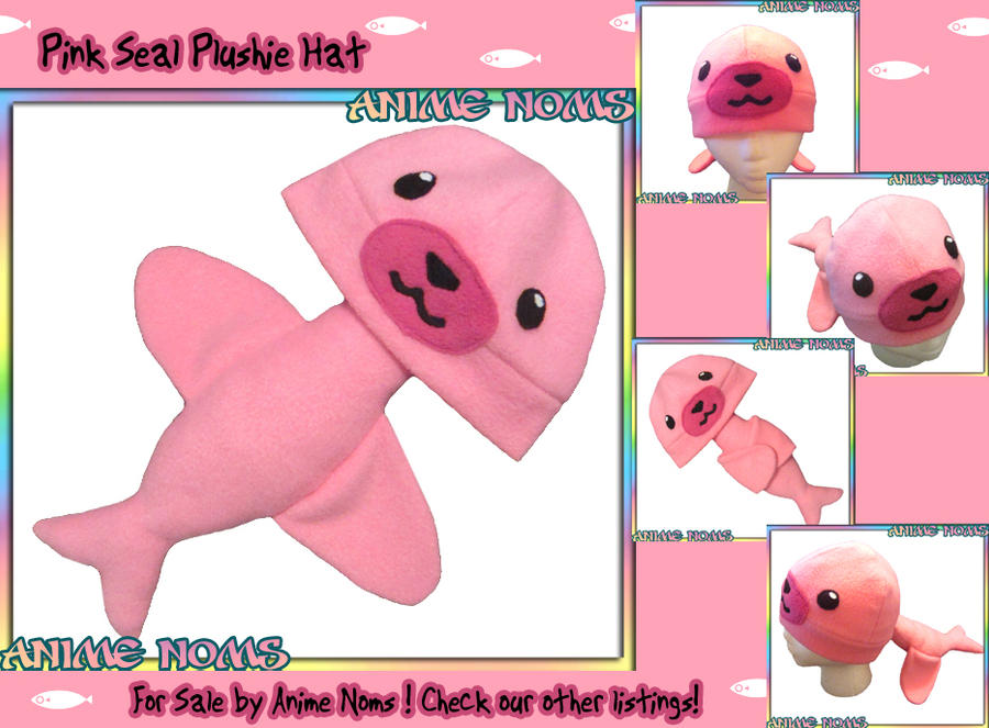 Pink Seal Plushie Noms Hat by AnimeNomNoms