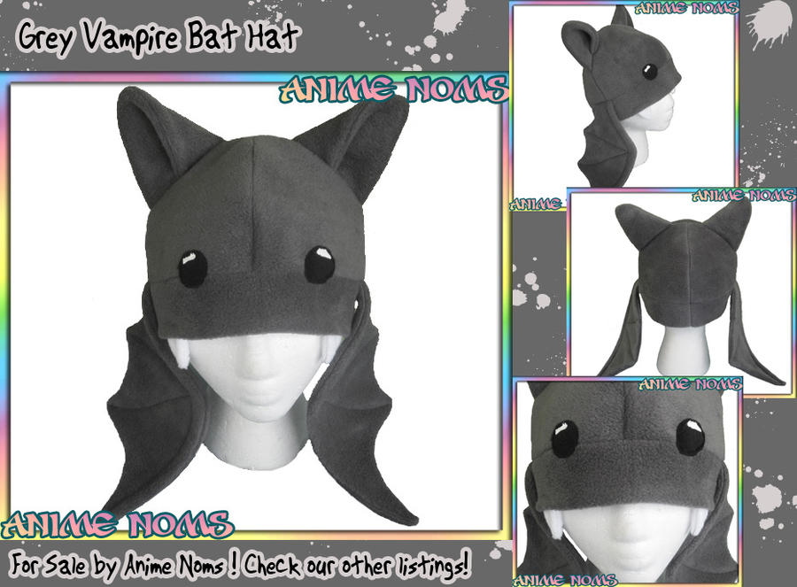 Grey Vampire Bat Hat by AnimeNomNoms