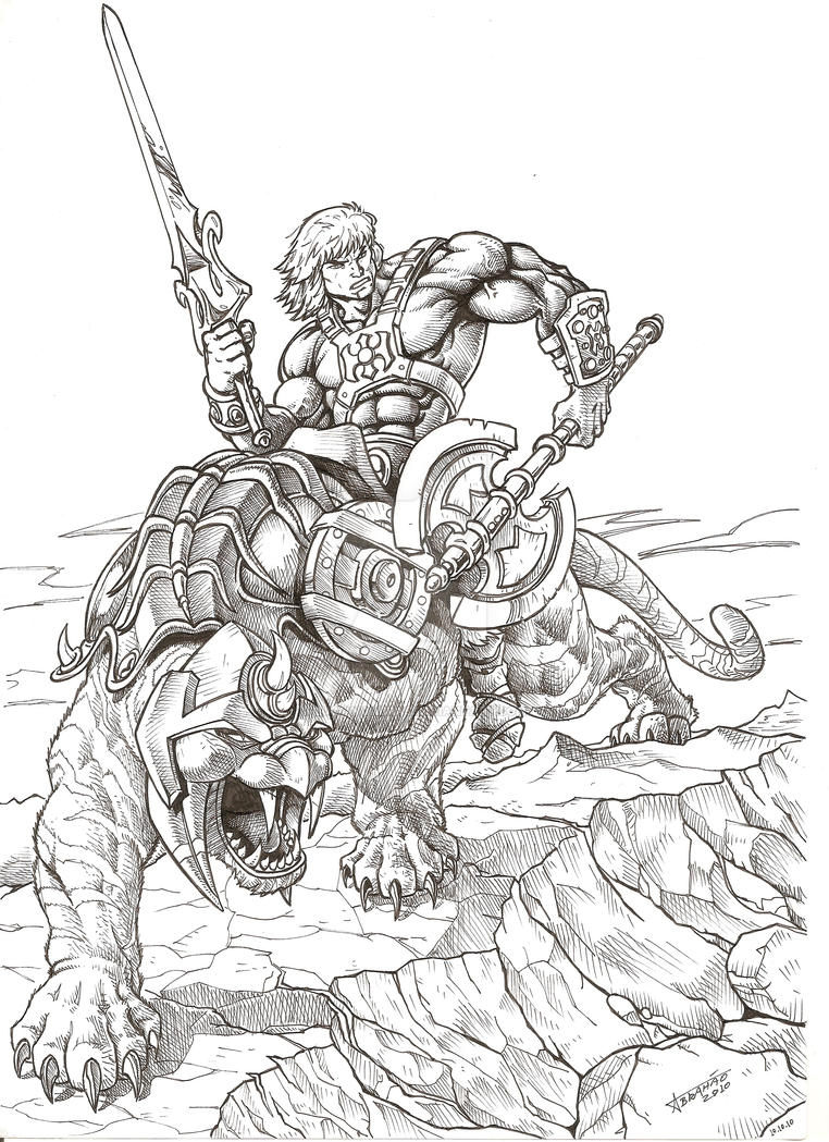he man and the masters of the universe coloring pages - he man e gato guerreiro by lucianoabras on deviantart