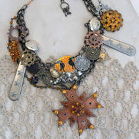 Steampunk Rhinestone assemblage necklace by troseleigh