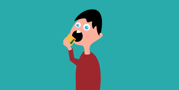Flat Design Character Download : Free cartoon character eating sandwich flat design by