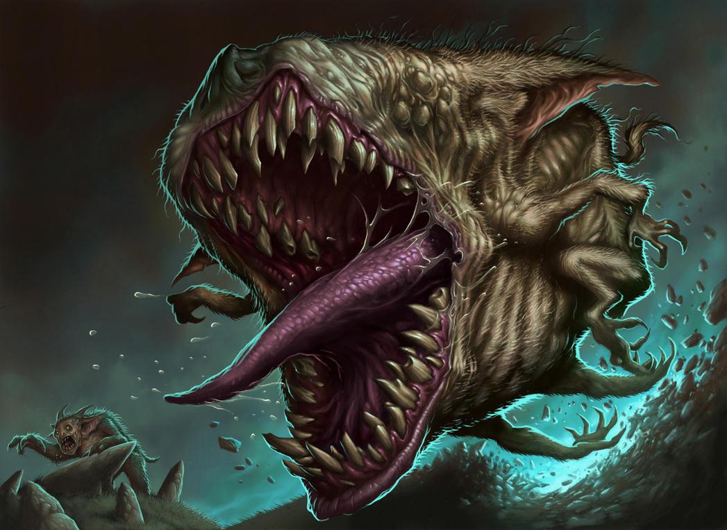 Обои зубы, монстр, горы, флаг, человек, пасть, змееобразный, язык на рабочий...