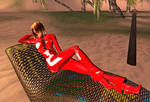 Lounging in red latex