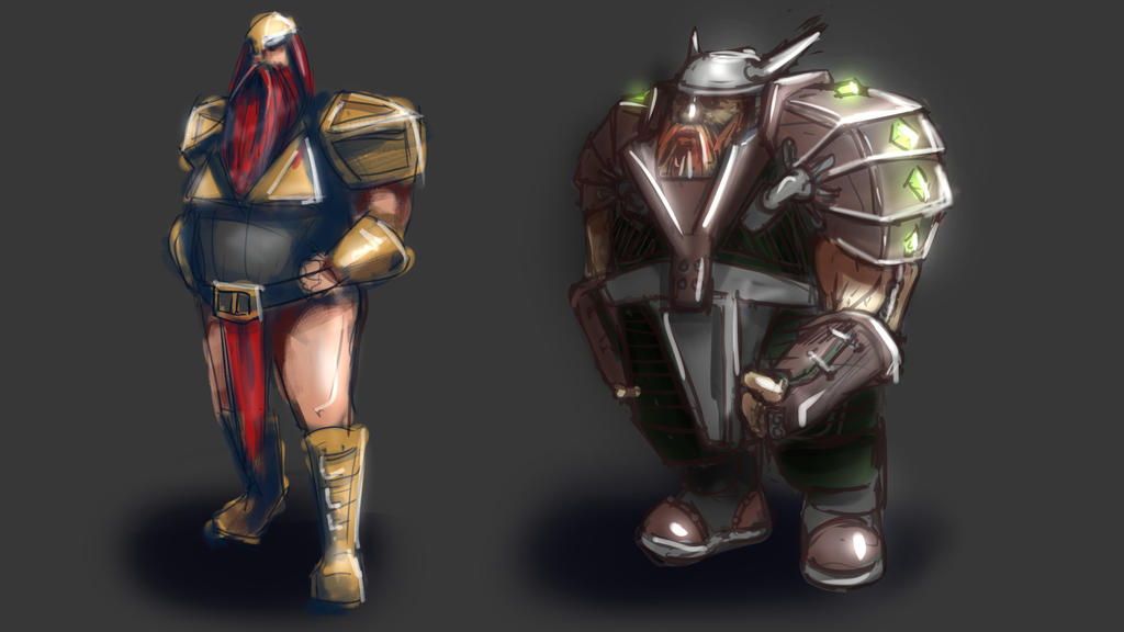 Dwarven Warriors by rndmnm
