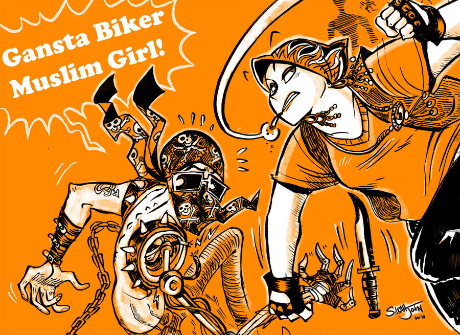 Gangsta Girl Cartoon Gangsta Biker Muslim Girl by