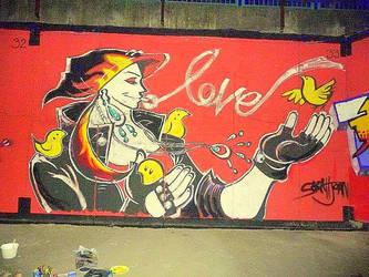 Gangster Biker Muslim Girl (Graffiti) by Pixi-san