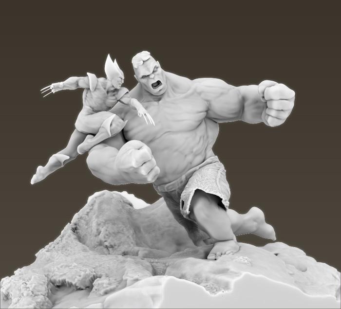 Hulk v Wolverine AO Render by stevenjamestaylor
