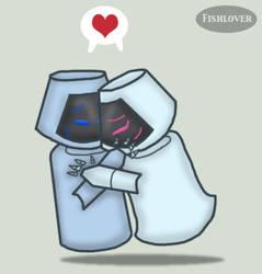Robot Cuddles by Fishlover