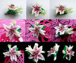barrette flower Lily  polymer clay