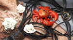 crab red gold sea ocean polymer clay by SINKandSHTAYN