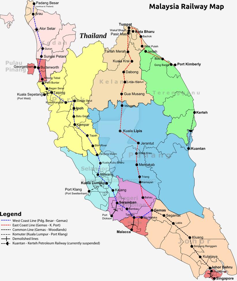 Malaysia Map: Malaysia Railway Map By Derkommander0916 On DeviantArt