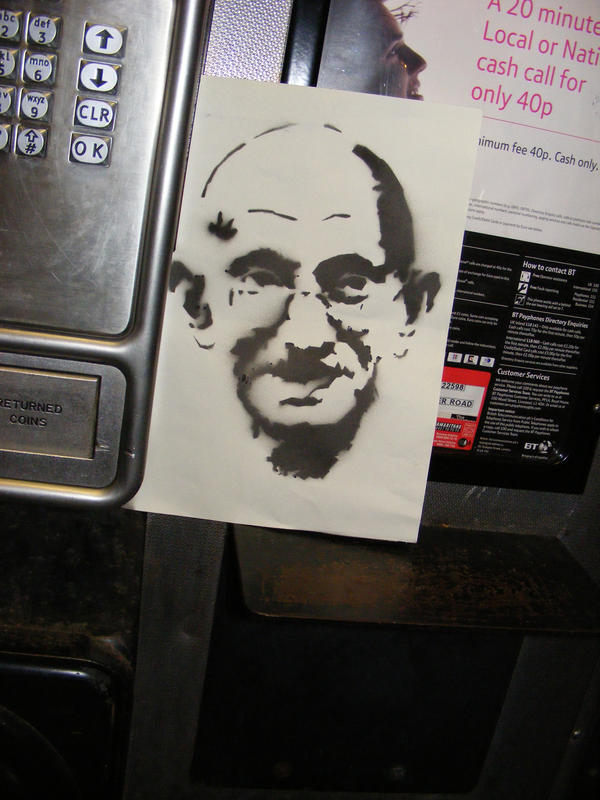 Gandhi in the phone box by ytak87