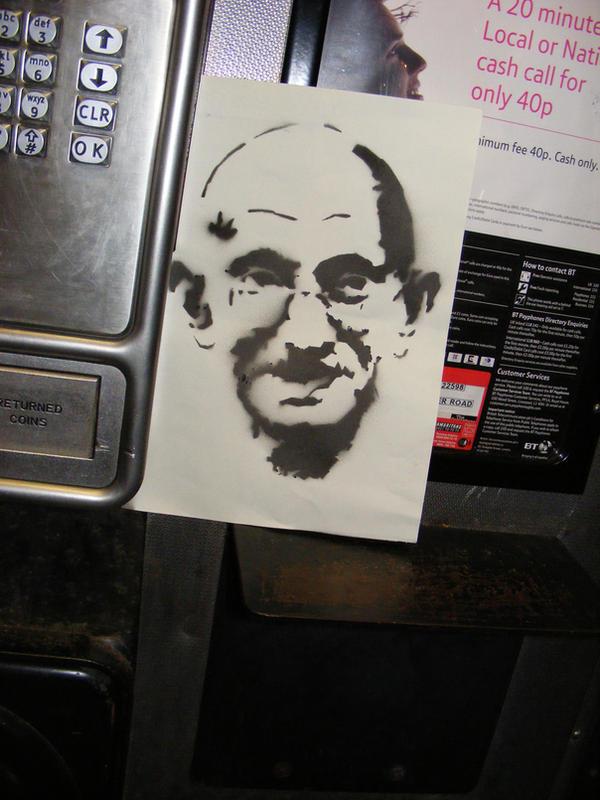 Gandhi in the phone box by ytak87