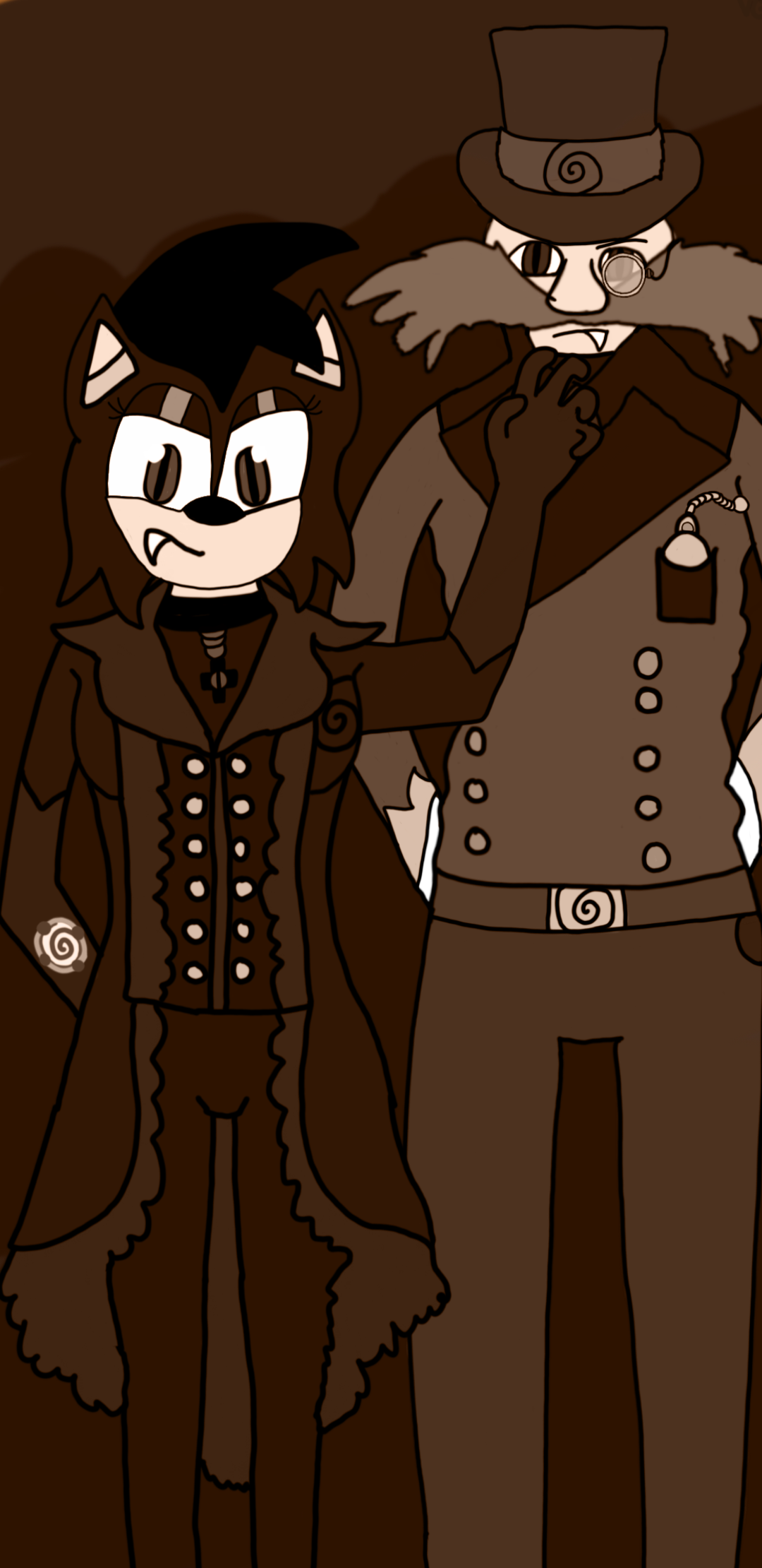 A vampire and her husband's old timey portrait