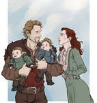Cullen, Trev, and their children by captainceranna