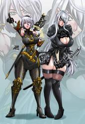 Commission: 2b + Selvaria Dress Switching