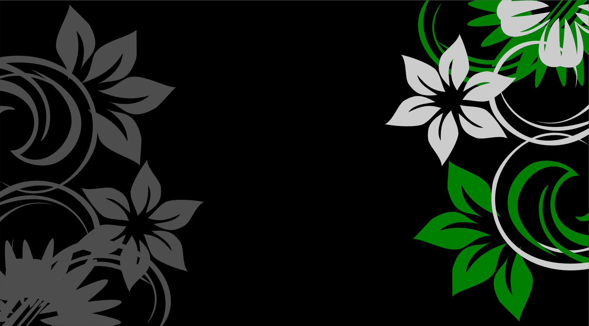 Floral Background Green Silver Grey Black By Shadowweaver97 On