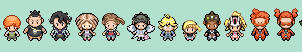 Characters from Pokemon X Y Sprites by tebited15
