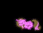 Sleeping brownie cake filly