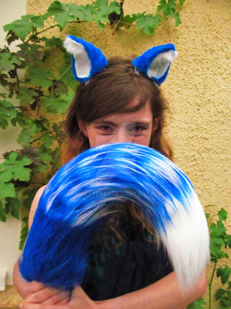 Luxury Long Blue and White Cat Ears and Tail Set! by PocketFoxy ... & Luxury Long Blue and White Cat Ears and Tail Set! by PocketFoxy on ...