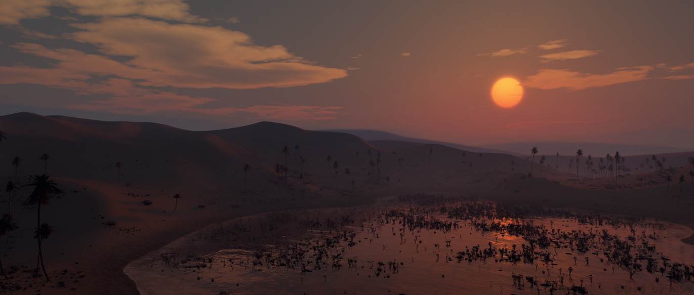 sunset above the oasis by SorinMares