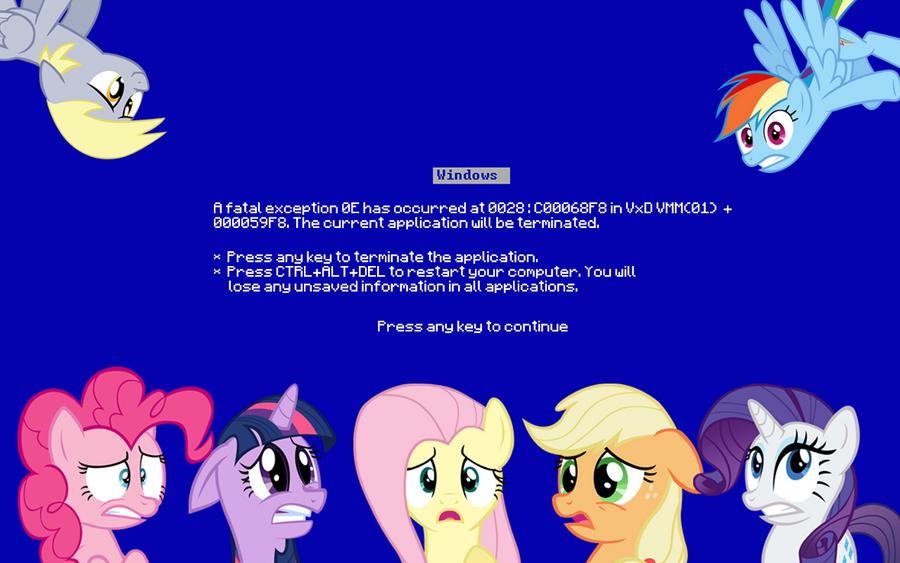 BSOD Pony Wallpaper By Brightrai On DeviantArt Broken Screen