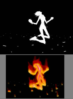 Girl in flames