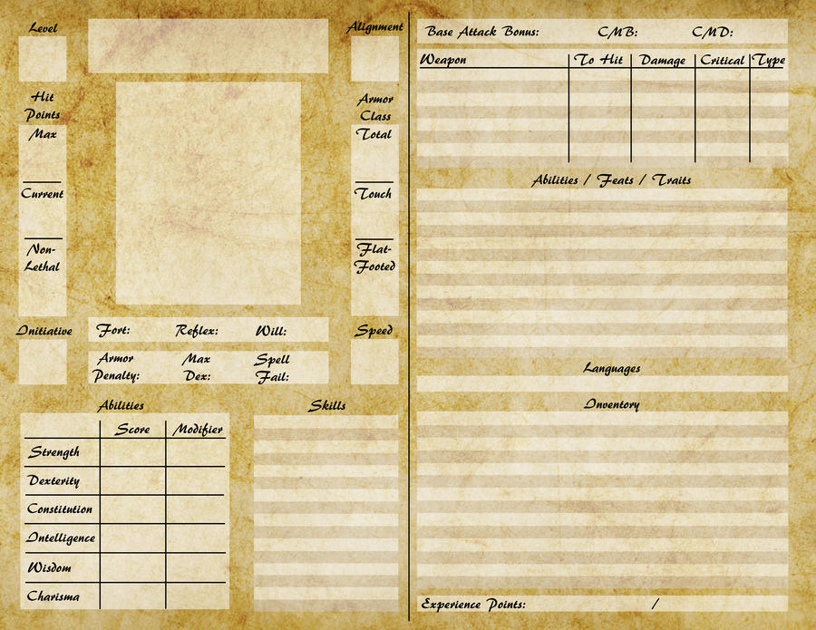 Pathfinder Character Sheet Pathfinder character sheet by