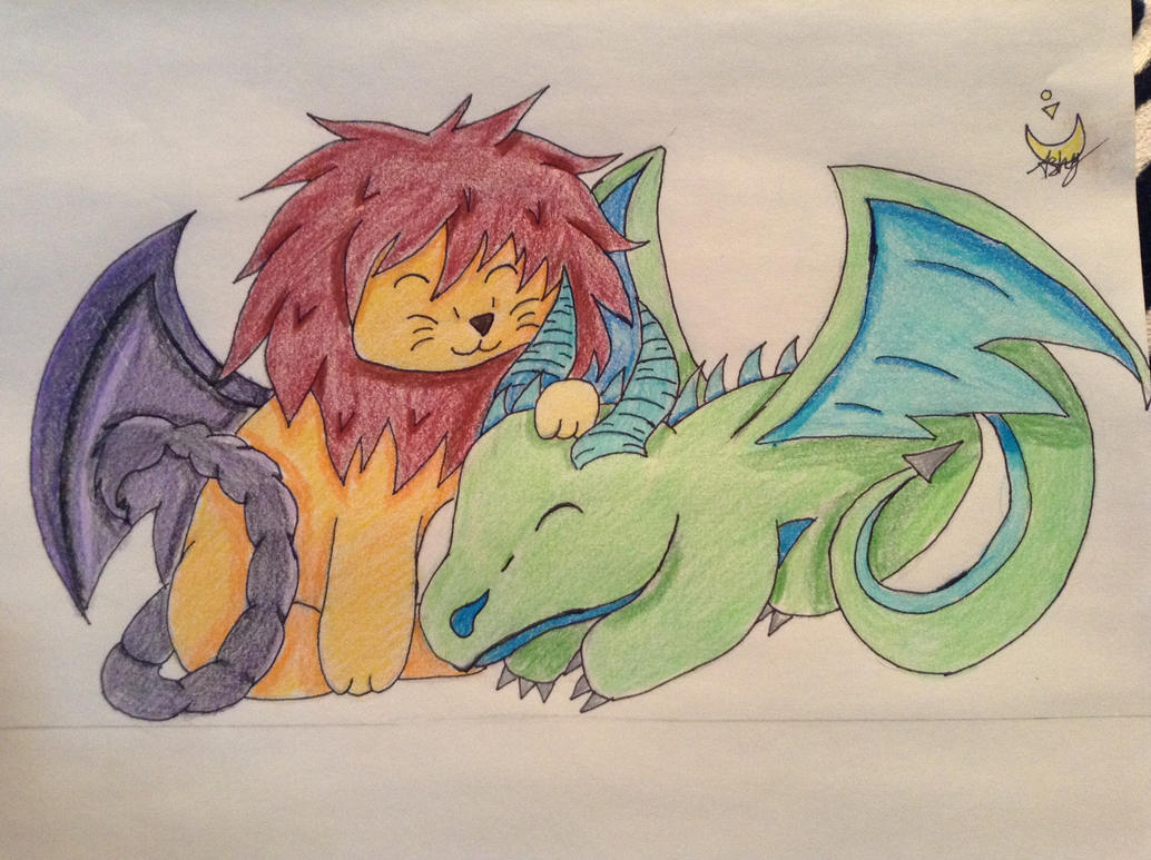 Manticore and Dragon play date by neon-talon-claw