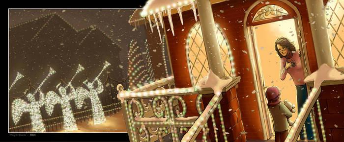 Snowy Christmas House