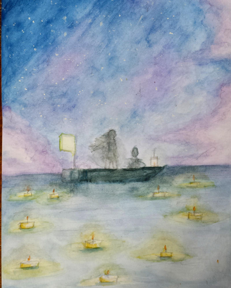 Watercolor #1 - Sky and ocean by Luycaslima